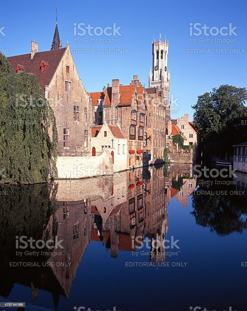 Canal and canalise buildings, Bruges. stock photo