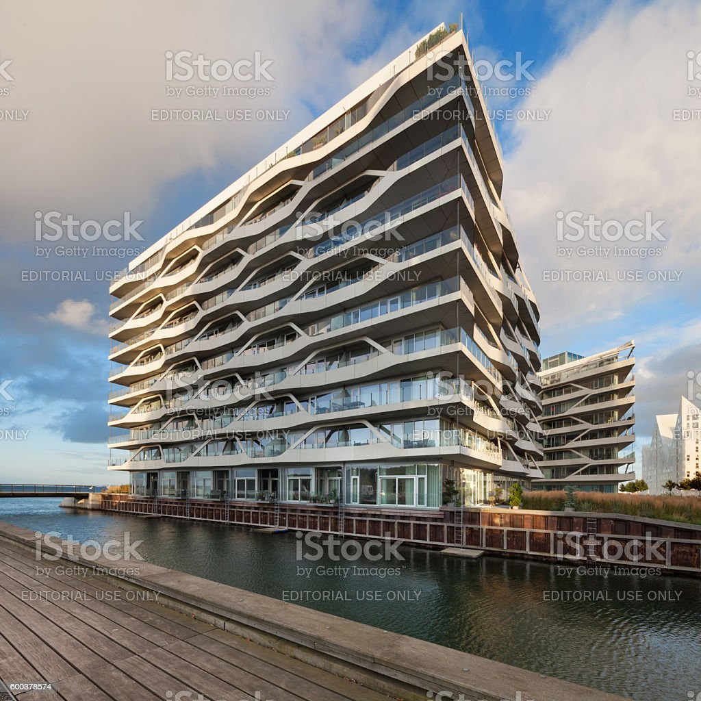canal and jetty at Aarhus in Denmark stock photo