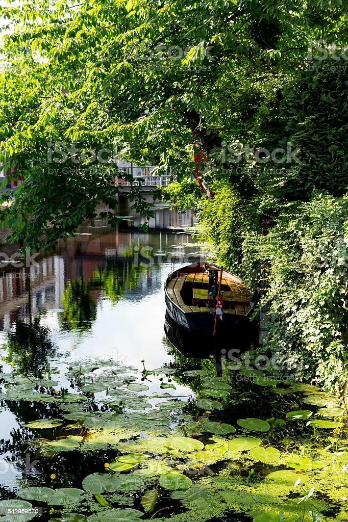 Canal and sloop in The Netherlands stock photo