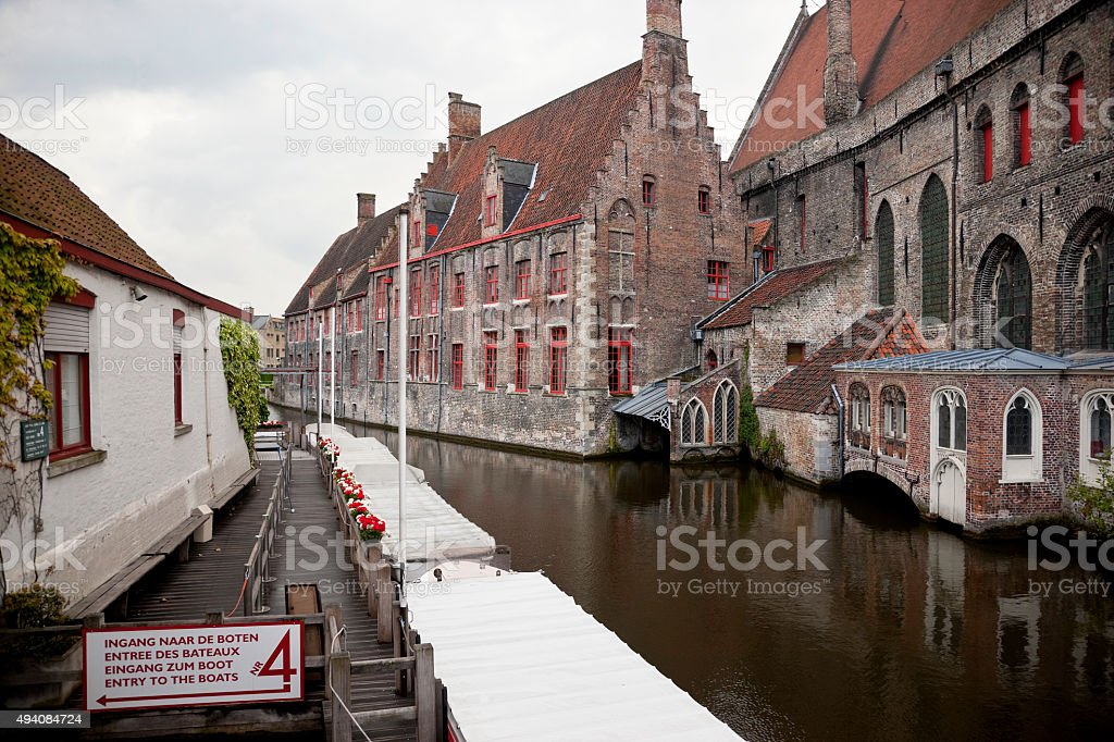 Canal and St John's Hospital, Bruges, Belgium stock photo