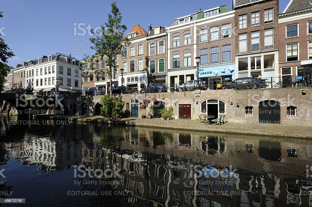 Canal and street Oudegracht in Utrecht stock photo
