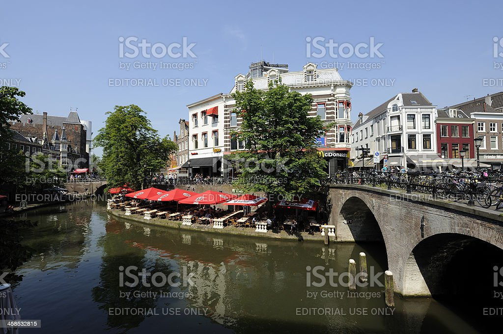 Canal and street Oudegracht in Utrecht the Netherlands stock photo