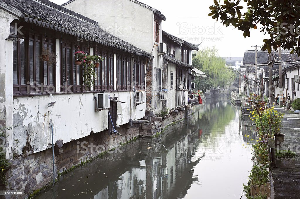 Canal and traditional architecture on Pingjiang Road, Suzhou royalty-free stock photo