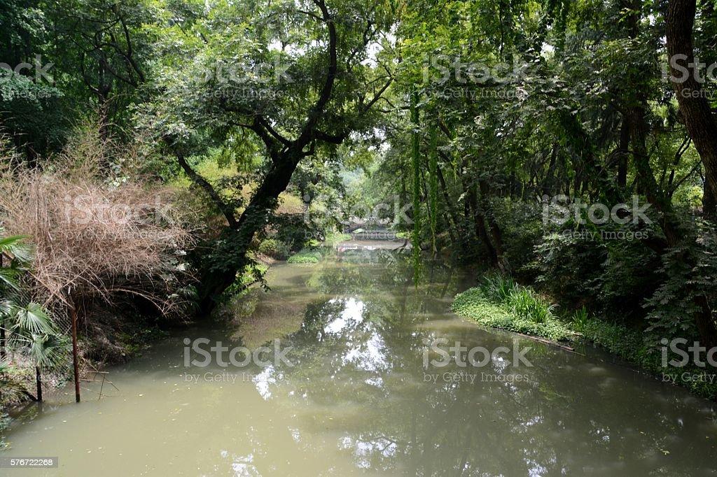 Canal at Hongmei park, Changzhou, Jiangsu province, China stock photo