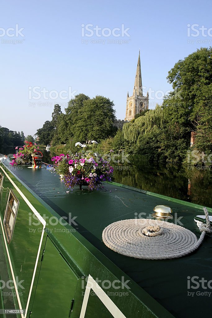 Canal Barge at Stratford Upon Avon, England stock photo