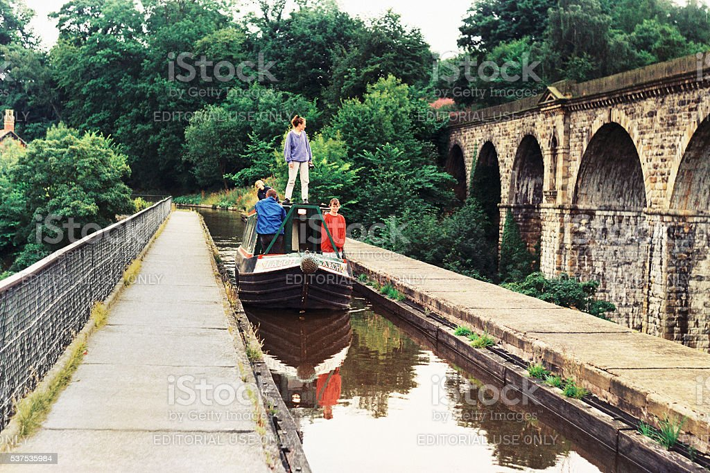 Canal; barge, water, aqueduct, narrow boat, bridge, tourism, England stock photo