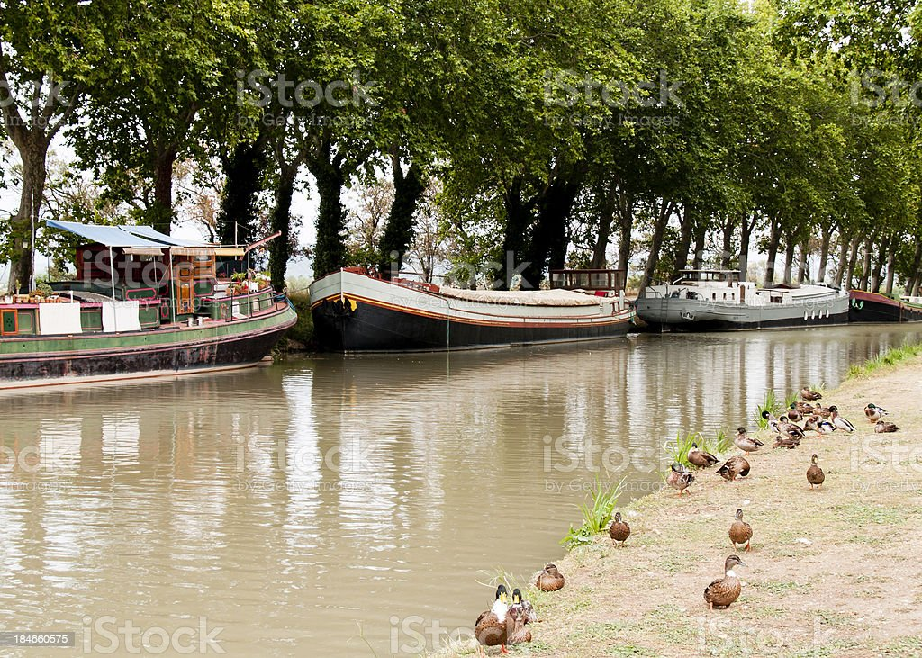 Canal barges stock photo