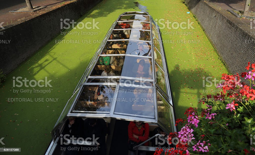 Canal boat in Delft, Holland stock photo