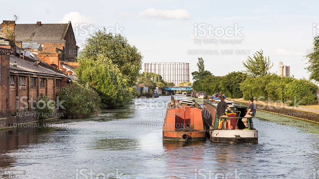Canal boats at Old Oak Common stock photo