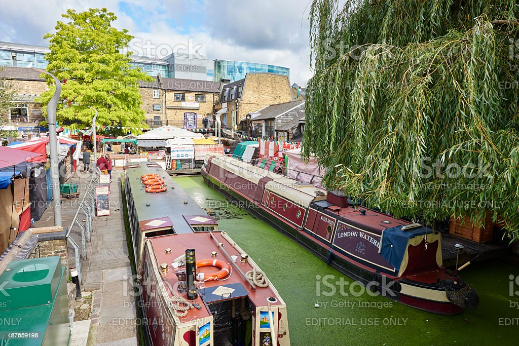 Canal Boats in Camden Town stock photo