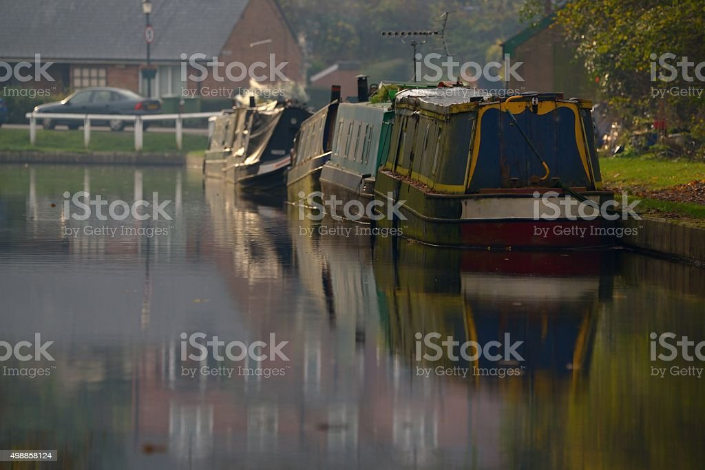 Canal boats moored stock photo