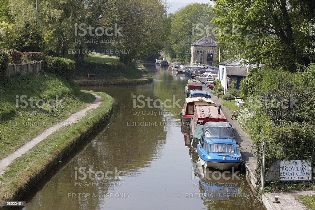 Canal boats moored up at Govilon Boat Club Abergavenny stock photo