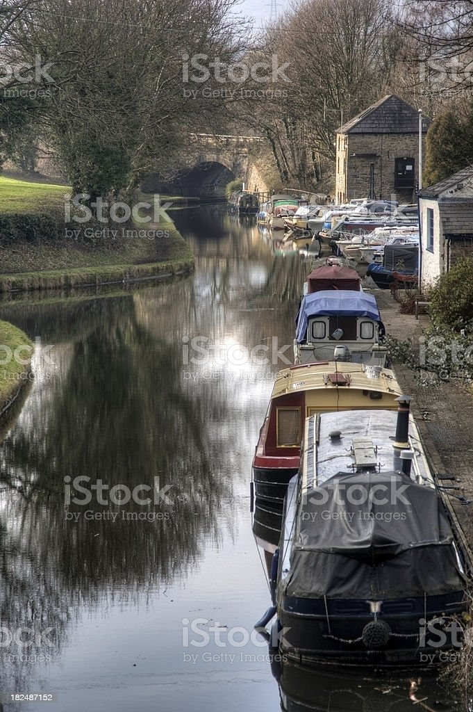 Canal boats moored up stock photo