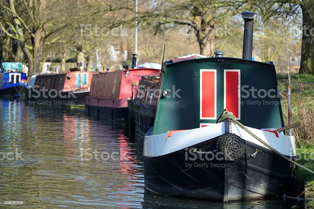 Canal Boats On The River Cam, Cambridge, England stock photo