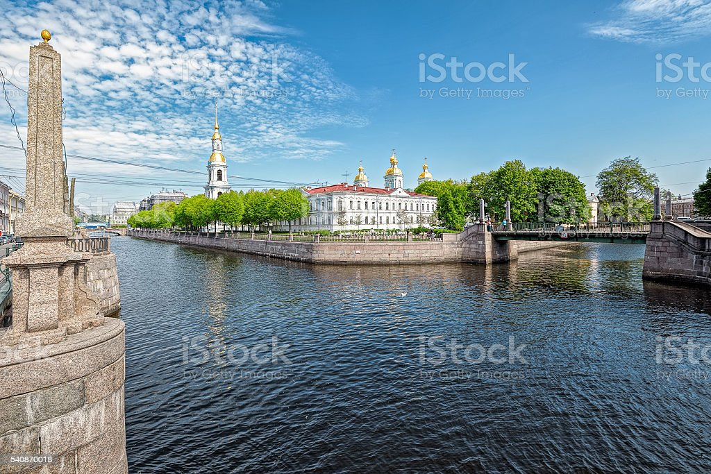Canal bridges and St Nicholas' Naval Cathedral stock photo