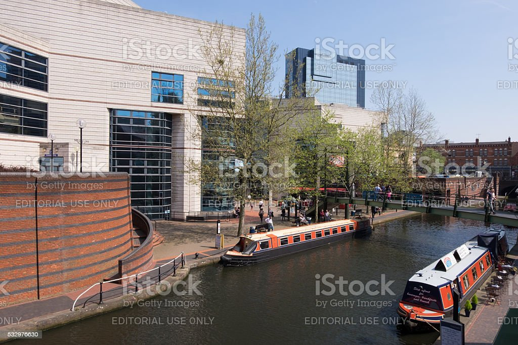 Canal by the Birmingham ICC stock photo