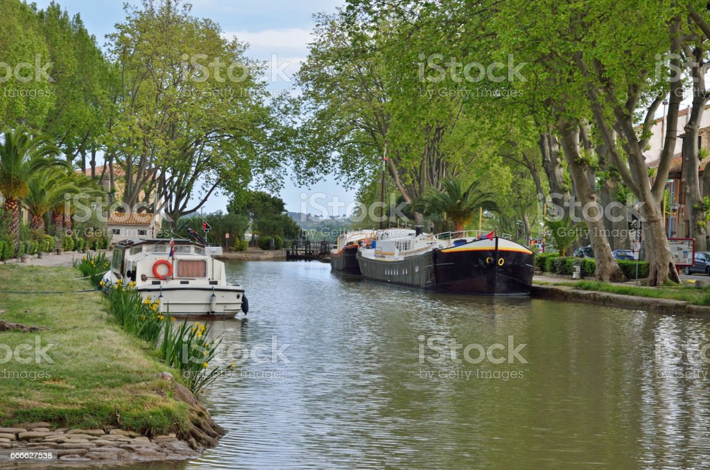 Canal de Jonction at Salleles d'Aude stock photo