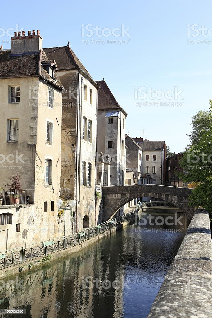 Canal des Tanneurs in Dole, France stock photo