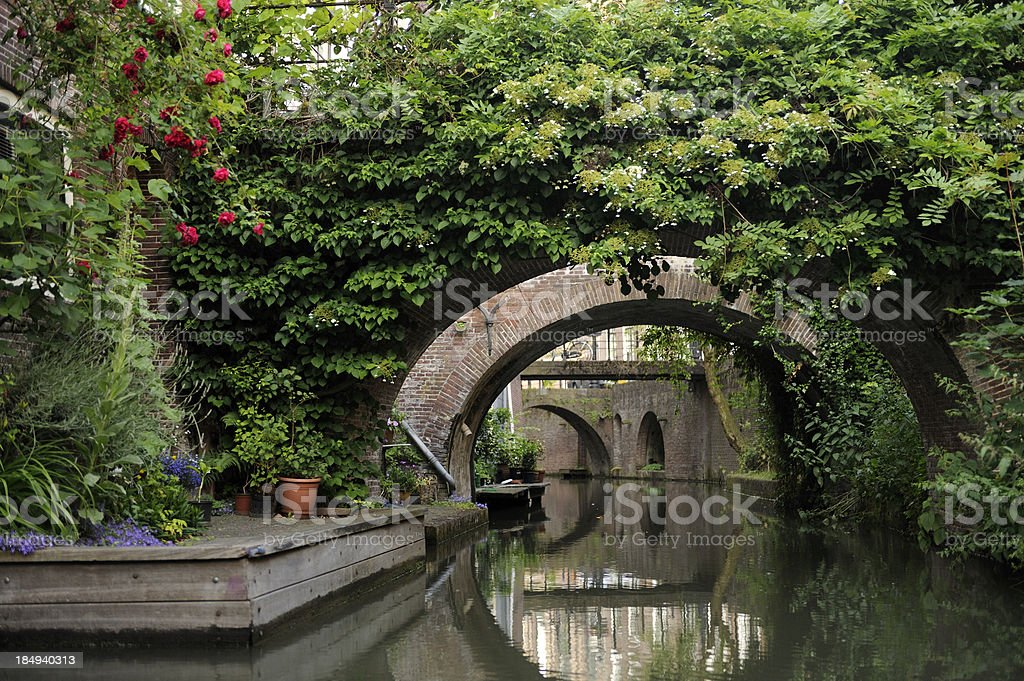 Canal Drift in the city center of Utrecht stock photo