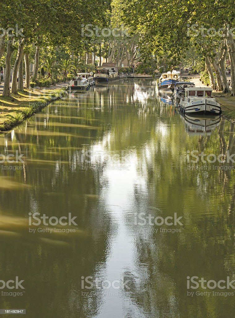 Canal du Midi, in morning light. France. stock photo