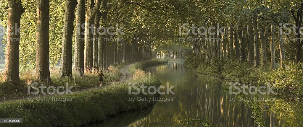 Canal du Midi in the morning (panorama) stock photo