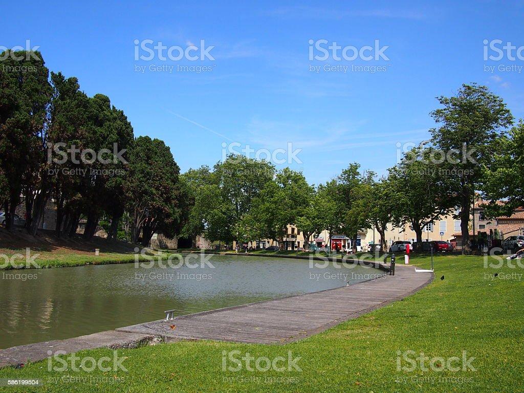 Canal du Midi running through Carcassonne stock photo