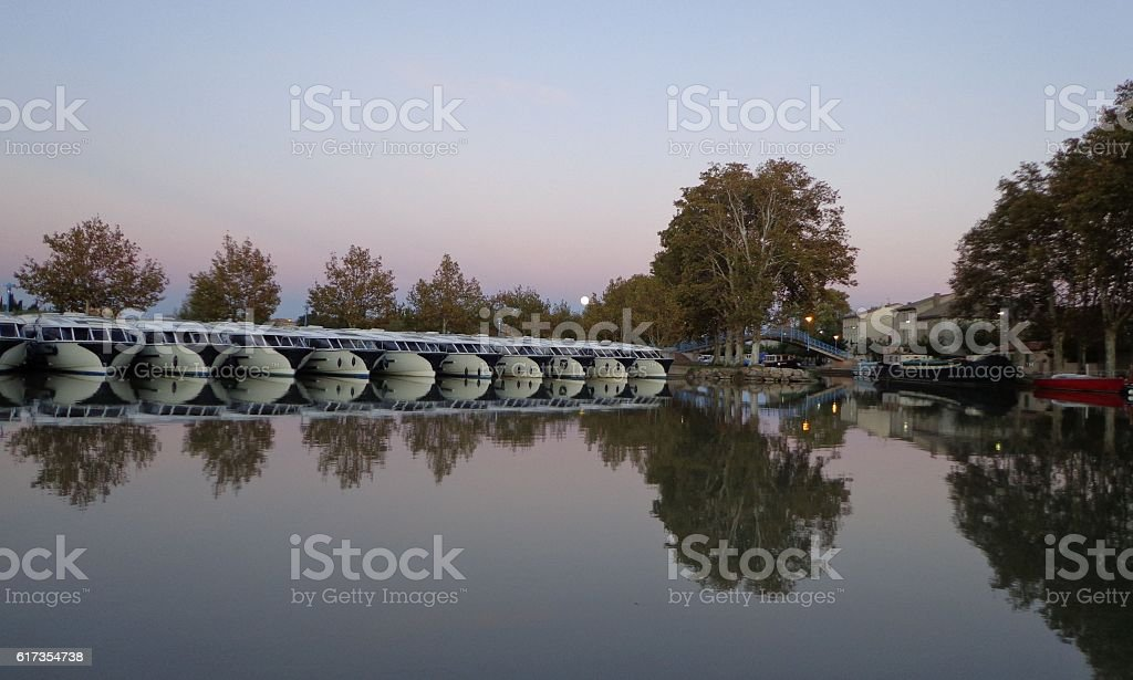 Canal du Midi, sunset on the port stock photo