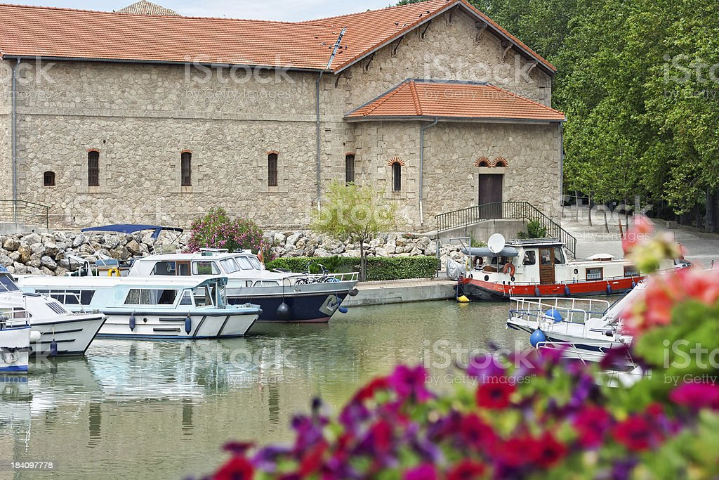 Canal Du Midi: The port of Colombiers stock photo
