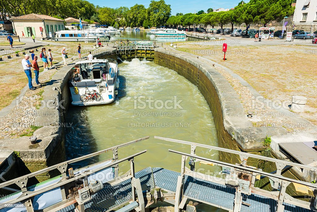 canal du midi with a lock in carcasonne stock photo