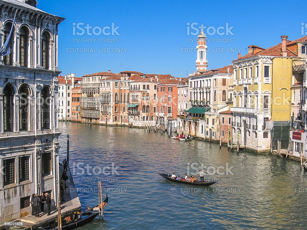 Canal Grande and tower stock photo