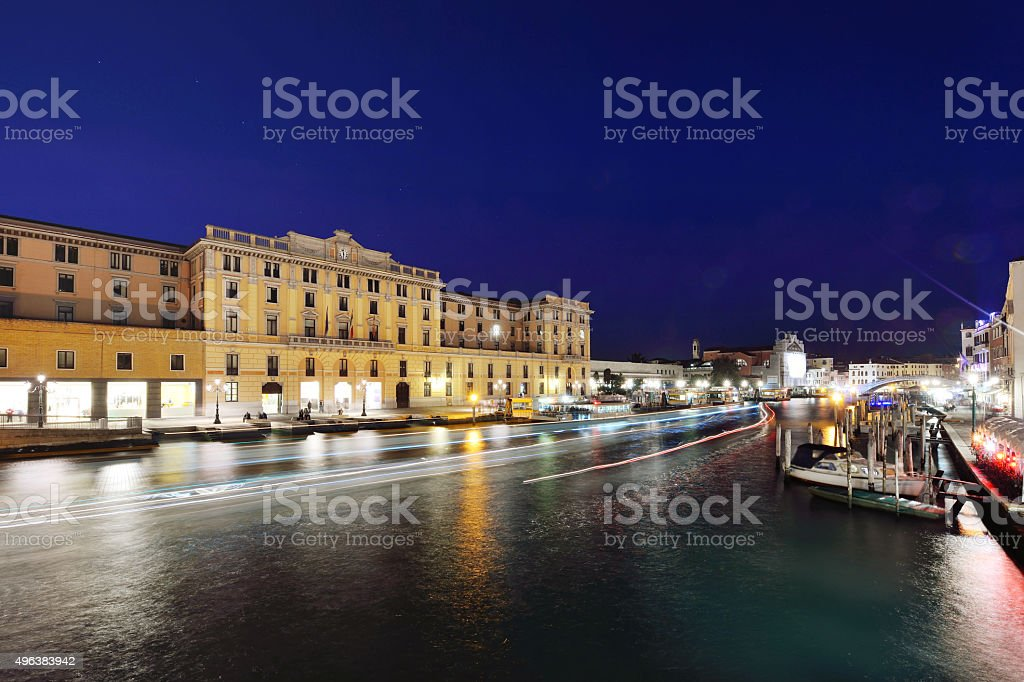 Canal Grande at night, Venice stock photo