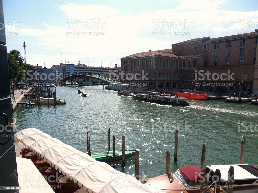 Canal Grande e Ponte  della Costituzione stock photo