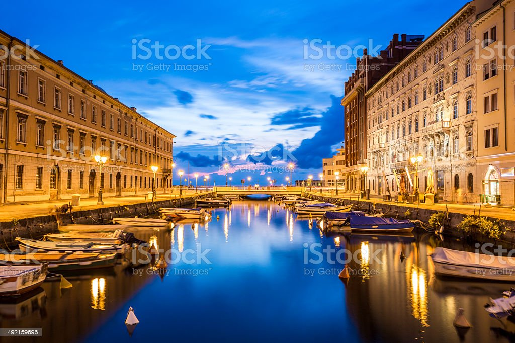 Canal grande in Trieste city center, Italy stock photo