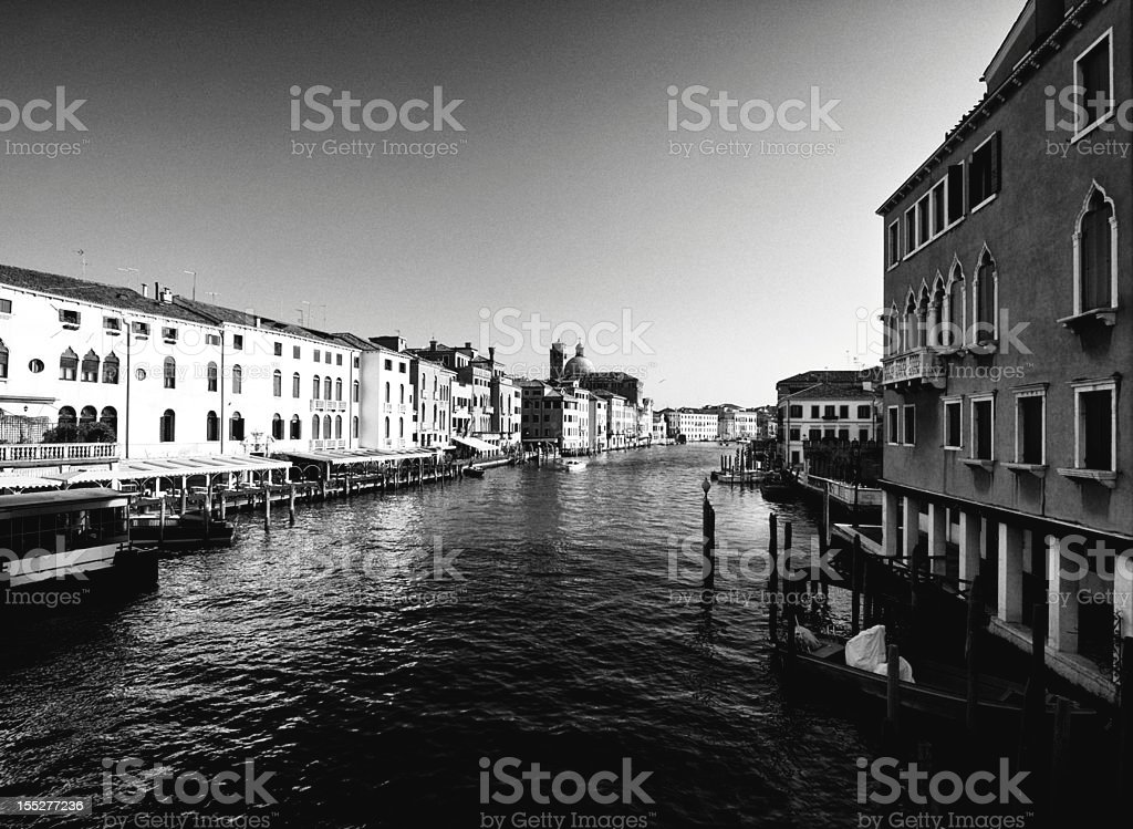Canal Grande. Venice. Black and White royalty-free stock photo