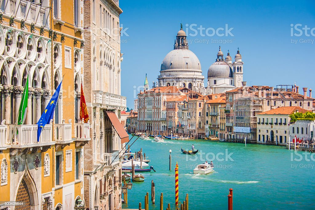 Canal Grande with Basilica di Santa Maria della Salute, Venice stock photo