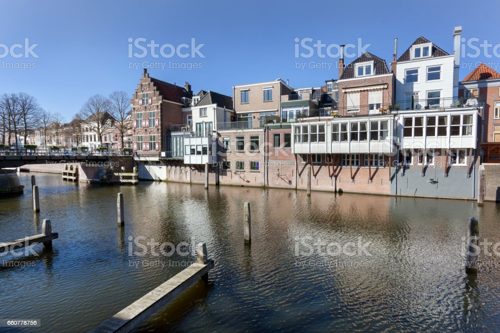 Canal houses and bridge in Gorinchem stock photo