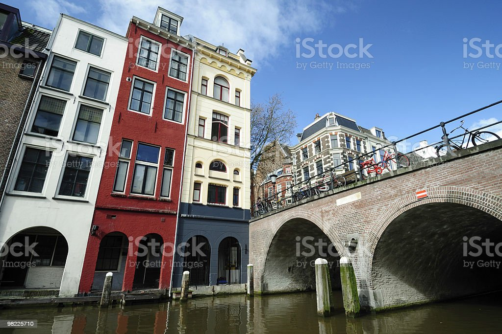 Canal houses in Utrecht along Oudegracht stock photo