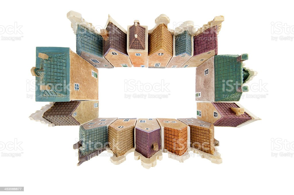 Canal houses in wide angle view royalty-free stock photo