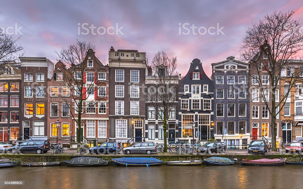 Canal houses on the Brouwersgracht in Amsterdam stock photo