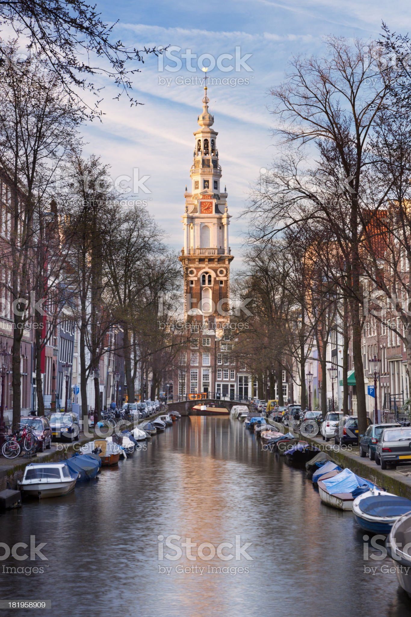 Canal in Amsterdam, The Netherlands at sunset royalty-free stock photo
