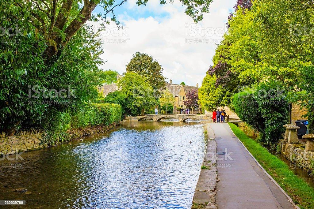 Canal in an English village stock photo