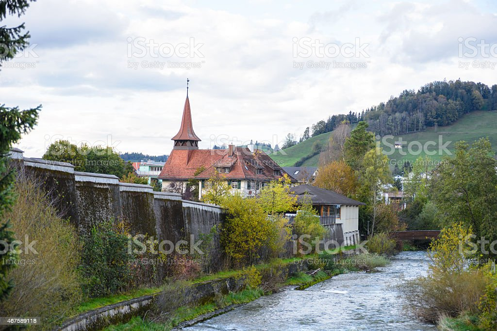 Canal in Appenzell, Switzerland. stock photo