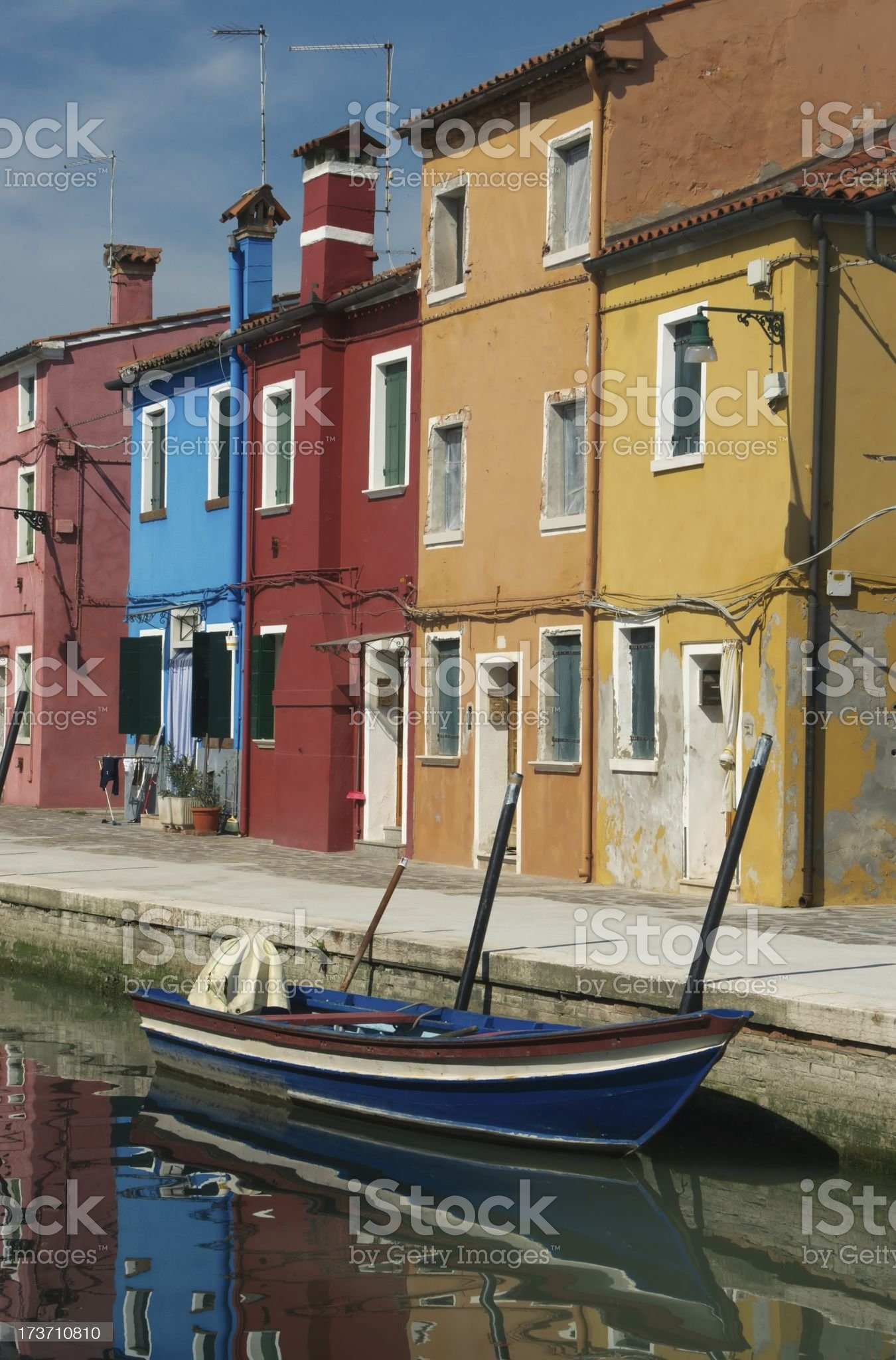 Canal in Burano royalty-free stock photo