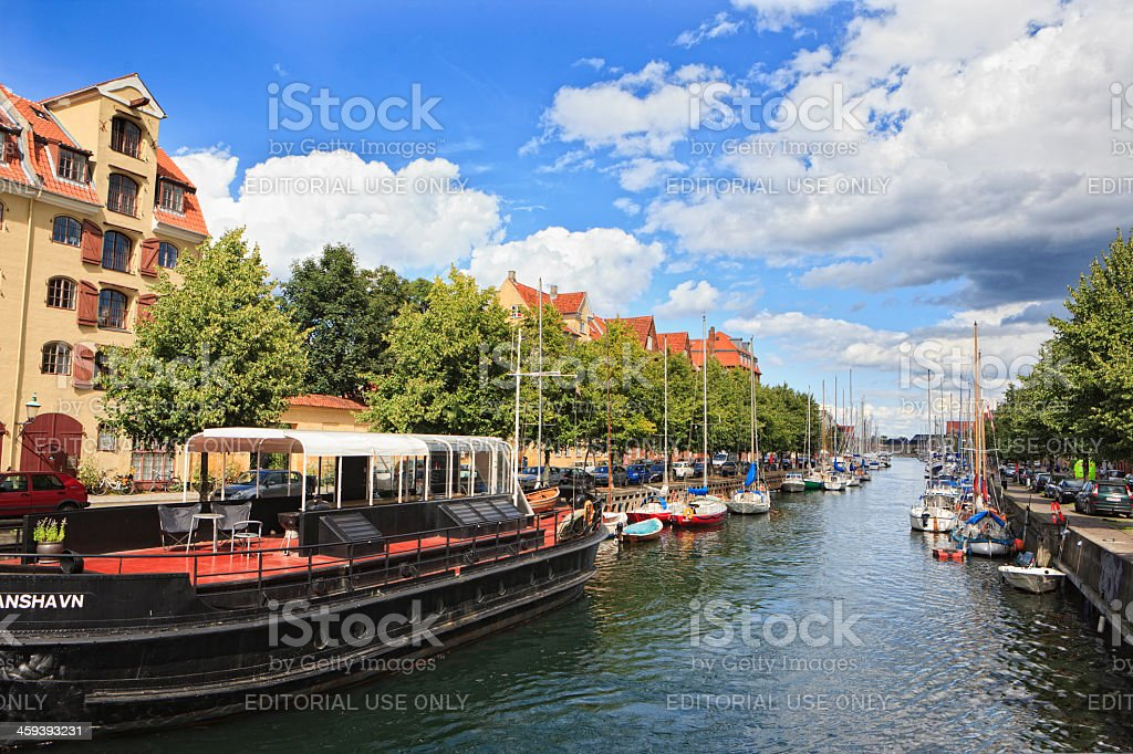 Canal in Copenhagens borough Christianshavn stock photo