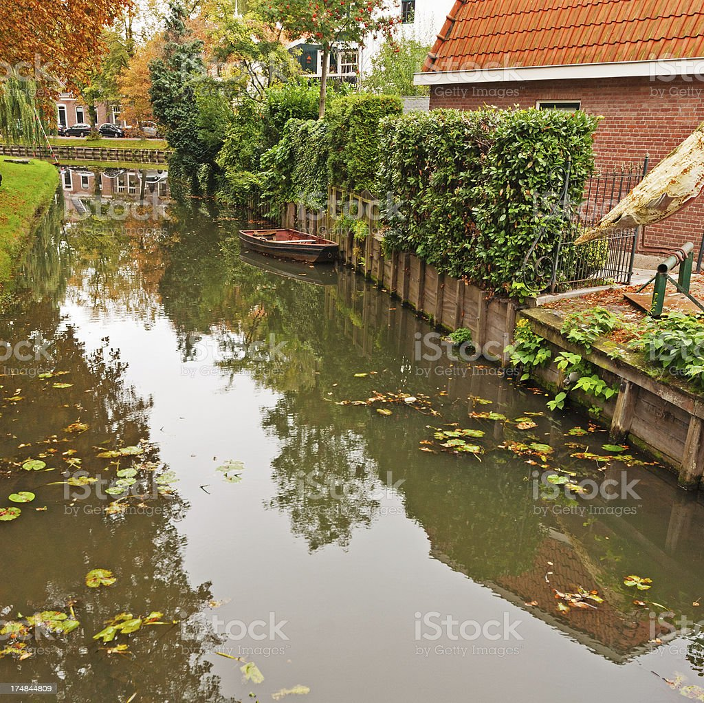 Canal  in Edam royalty-free stock photo
