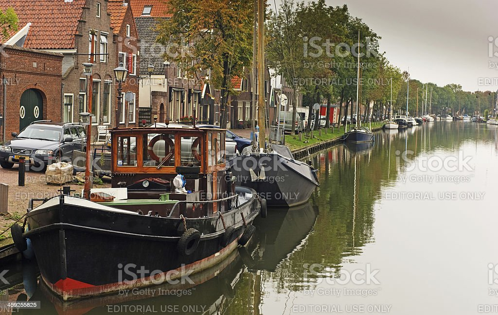 Canal  in Edam stock photo
