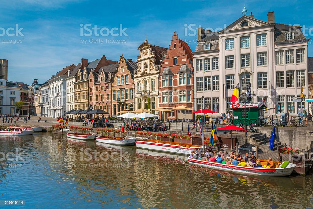 Canal in Ghent stock photo