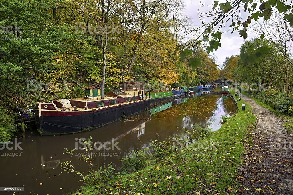 Canal in Hebden Bridge on a Rainy Day stock photo