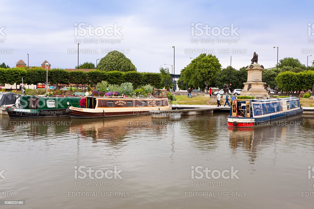 Canal in Historic Center of Stratford-upon-Avon, Warwickshire, England, UK. stock photo