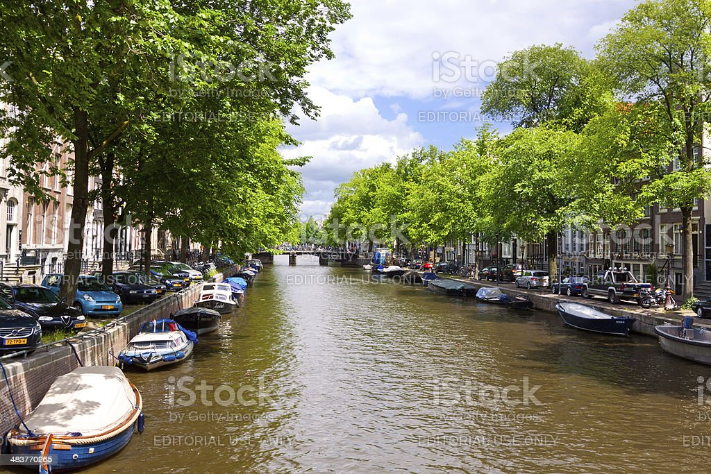 Canal in Historic Part of Amsterdam. royalty-free stock photo